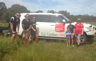 The team from GJG out planting trees for Gippsland Plains Conservation Network.